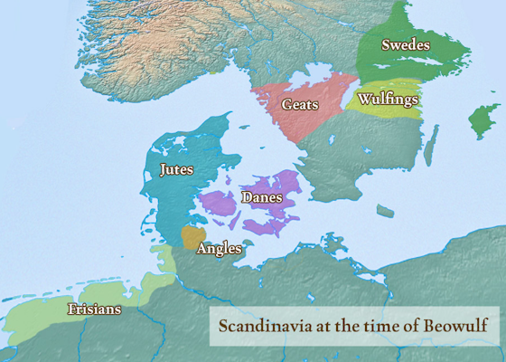 Scandinavia at the time of Beowulf.