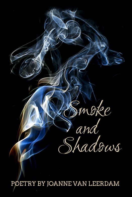 The cover of Smoke and Shadows has an image of smoke in shades of blue, gold, red and white on a black background. The title is printed in gold.