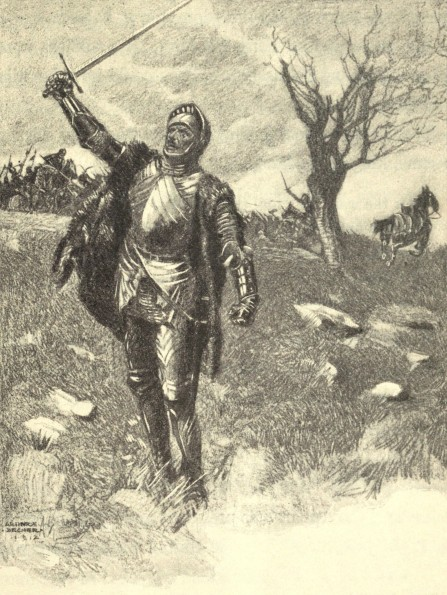 An image of King Richard III in battle at Bosworth Field. It is a line drawing, black on yellowed paper, drawn by an artist named Begner in 1912.