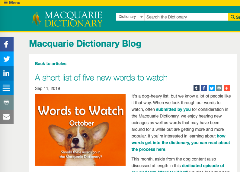 "An image that inks to the article ""A Short List Of Five New Words To Watch"" on the Macquarie Dictionary Blog"