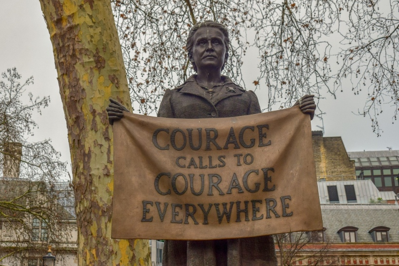 A photo of a statue of Millicent Fawcett, campaigner for women's rights