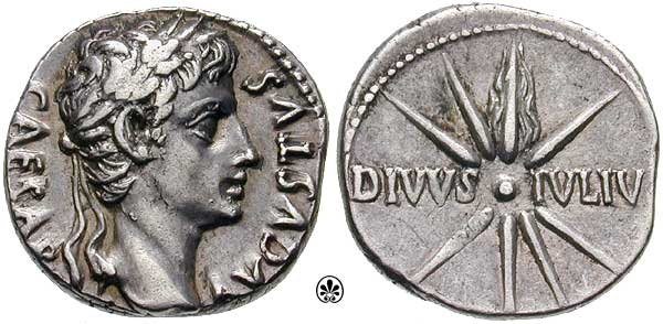 Front and back of a Roman Coin from the time of Caesar Augustus, whose head is shown on one side. On the other side is a comet with 8 rays and the inscription divvs ivliv