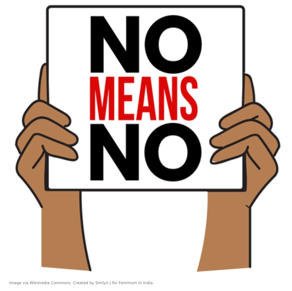 "An image of two hands holding a sign that says ""no means no""."